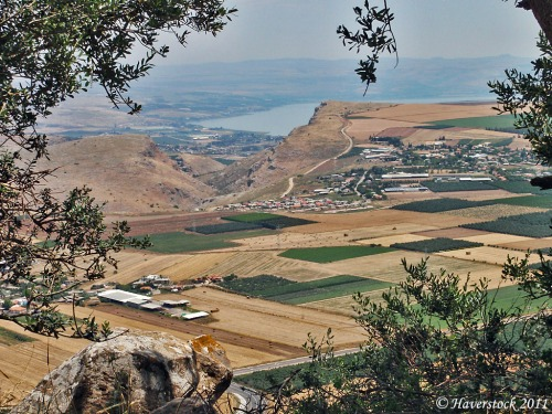 From the Horns of Hattin one sees Mount Arbel, the Arbel Valley, the plain of Gennesaret and the northern end of the Sea of Galilee. Photo by Larry Haverstock.