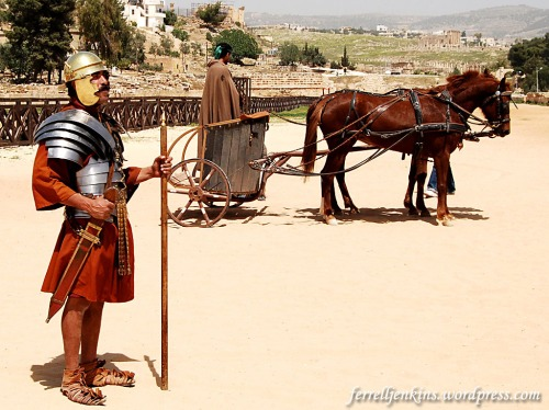 Roman Centurion and a Charioteer at Jerash (the RACE show at Jerash). Photo by Ferrell Jenkins.