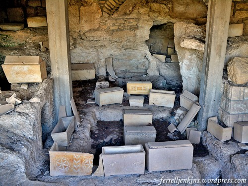Ossuaries in one of the tombs at Dominus Flevit on the western slope of the Mount of Olives. Photo by Ferrell Jenkins.