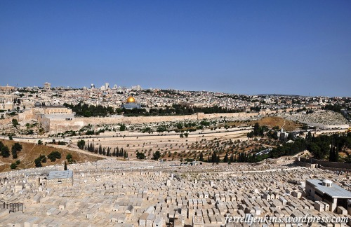 Jewish graves visible on the western slope of the Mount of Olives. Photo by Ferrell Jenkins.