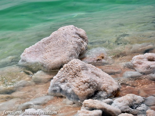 Salt on the rocks along the shore of the Dead Sea. Photo by Ferrell Jenkins.
