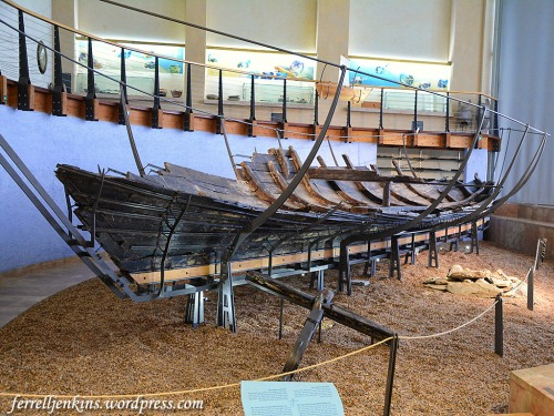 The Ma'agan Mikhael ship displayed in the Hecht Museum. Photo by Ferrell Jenkins.