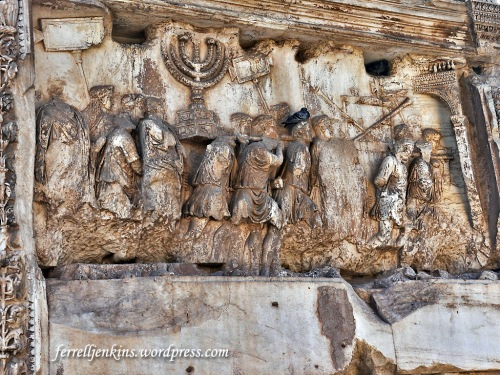 Arch of Titus relief showing Roman soldiers carrying the items taken from the Temple in Jerusalem in A.D. 70. Photo by Ferrell Jenkins.
