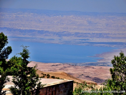 View of the Dead Sea, the wilderness of Judea, and the central mountain range from Mount Nebo in the Transjordanian Plateau. Photo by Ferrell Jenkins.