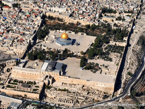 Aerial view of the temple precinct from the time of Herod the Great. Today the area is occupied by Moslem shrines, Al Aksa Mosque and the Mosque of Omar (Dome of the Rock). Photo by Ferrell Jenkins.