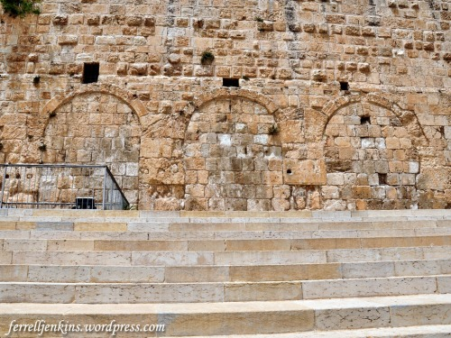 The Triple Gate in the southern wall of the Temple Mount. The gates you see here are much later, but an original Herodian stone is located to the left of the gates. Photo by Ferrell Jenkins.