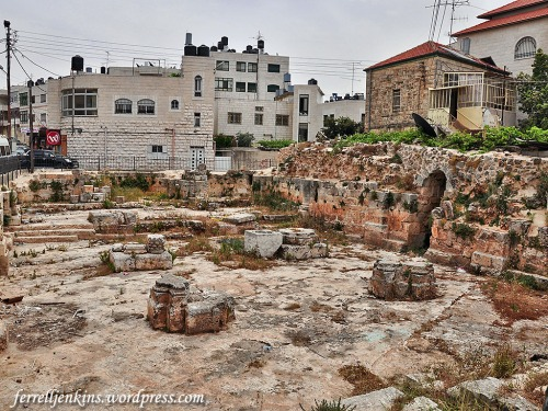 Ruins of medieval church beneath a Mosque in El Bireh. Photo by Ferrell Jenkins.