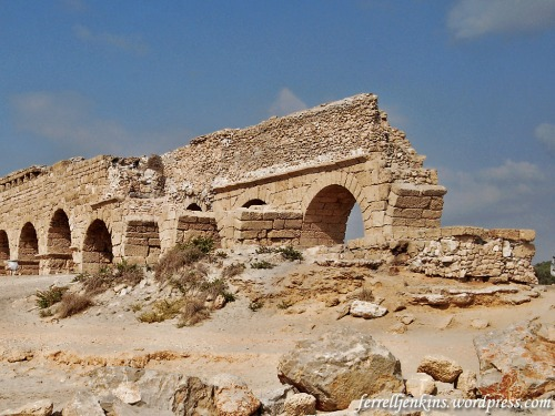 High level aqueduct at Caesarea Maritima. the portion on the right of the photo (east side) was built by Herod the Great. The portion beside it on the left was added by Hadrian. Photo by Ferrell Jenkins.