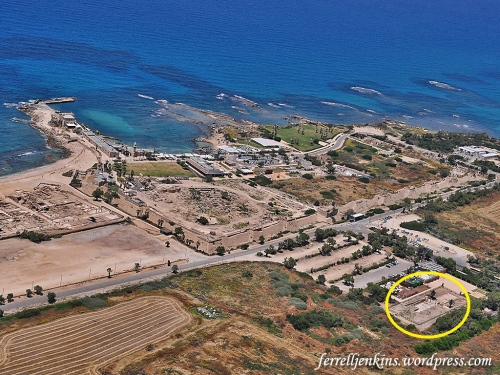 Aerial view of the Crusader Fortress at Caesarea. The Byzantine Street is marked in the lower right corner. Photo by Ferrell Jenkins.
