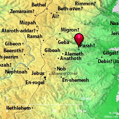 This map identifies Perath as possibly the site mentioned in Joshua 18:23. Map courtesty of BibleHub.com.