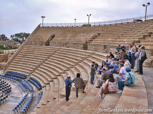 A tour group in the theater listens as the guide begins to tell them about the important of Caesarea. Photo by Ferrell Jenkins.