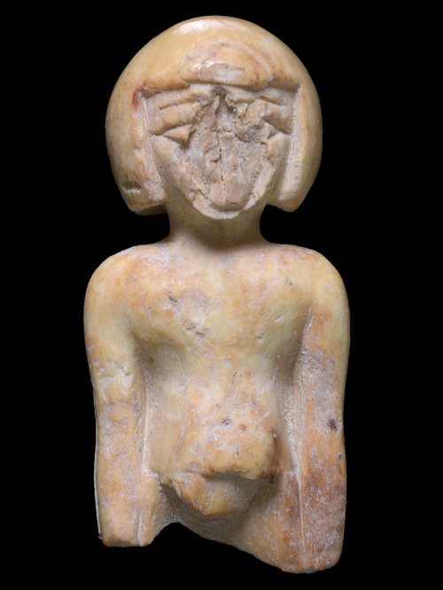 Ivory statue in the image of a woman. Picture: Clara Amit, Israel Antiquities Authority