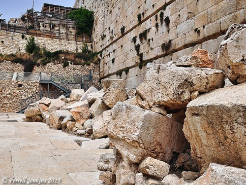 Stones that fell, or were pushed, from the Temple Mount to the street below in A.D. 70 at the time of the destruction by the Romans. Photo by Ferrell Jenkins.