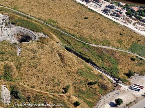 Aerial view of the Megiddo water system. Photo by Ferrell Jenkins.