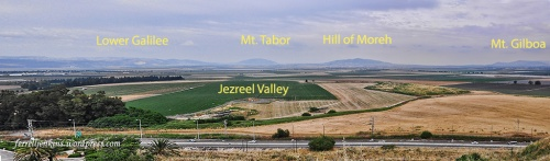 Annotated panorama of Jezreel Valley from Megiddo. Photo by Ferrell Jenkins.