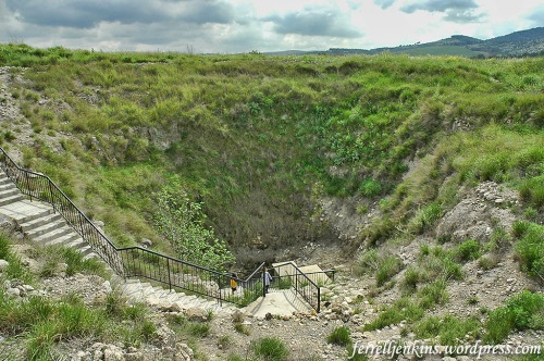 The shaft of the Megiddo water system from the top of the tel. Photo by Ferrell Jenkins.