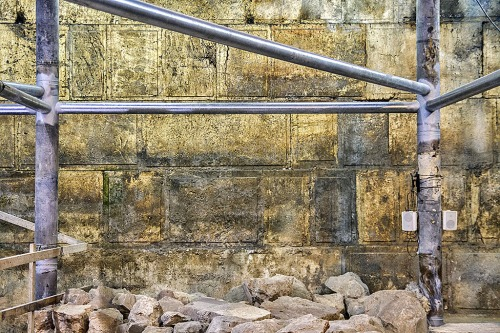 Eight courses of the Western Wall were discovered in the excavation. Photograph: Yaniv Berman, courtesy of the Israel Antiquities Authority