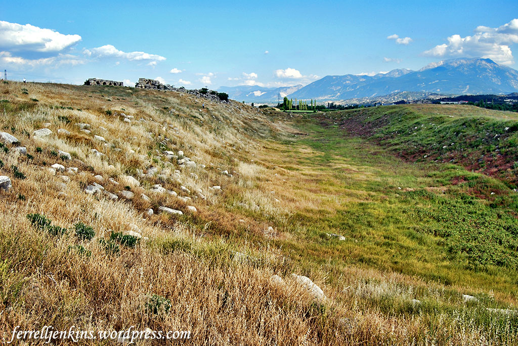 The stadium at Laodicea before the recent efforts to uncover the stadium and restore it. Photo by Ferrell Jenkins.