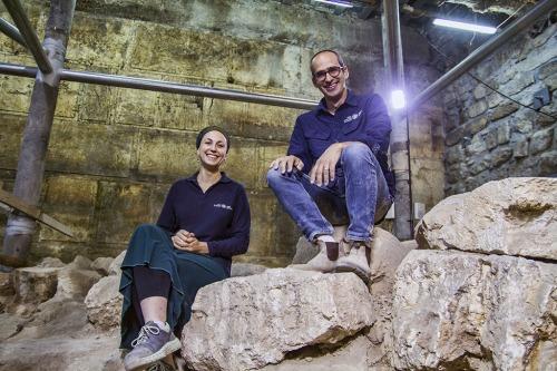 Israel Antiquities Authority excavation directors Dr. Joe Uziel and Tehillah Lieberman at the excavation site. Photograph: Yaniv Berman, courtesy of the Israel Antiquities Authority.