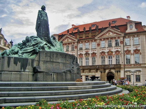 The Hus Monument in the Town Square of Prague. Photo by Ferrell Jenkins.