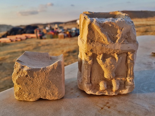 Two cultic incense altars found in one of the rooms of the structure (photo: Michal Haber, Israel Antiquities Authority)