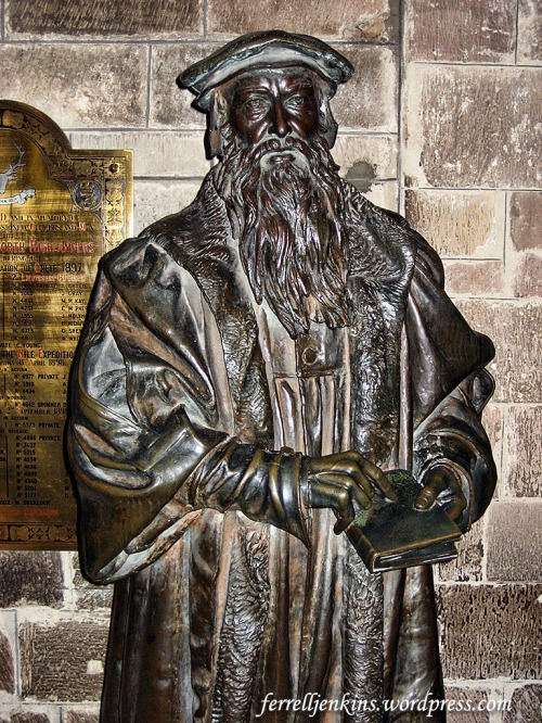 Statue of John Knox in St. Giles Cathedral, Edinburgh, Scotland. Photo by Ferrell Jenkins.