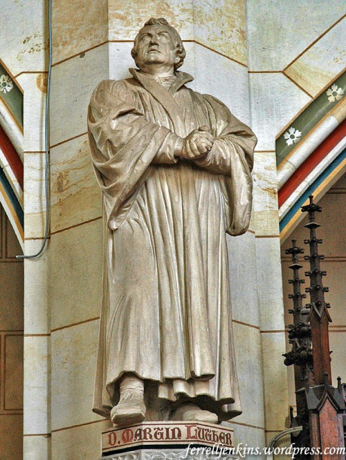 Statue of Marin Luther in the Wittenberg Church. It was here that Luther posted his 95 Theses on the door. Photo by Ferrell Jenkins.