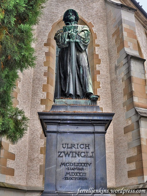 Statue of Ulrich Zwingli, Geneva, Switzerland. Photo by Ferrell Jenkins.