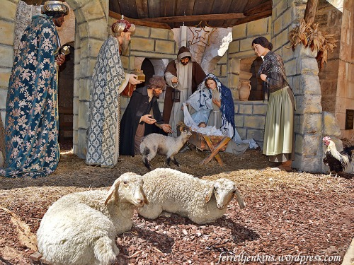 Nativity display in the courtyard of St. Catherine's church in Bethlehem. Photo by Ferrell Jenkins.
