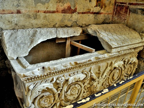 This is said to be the sarcophagus of St. Nicholas. Photo by Ferrell Jenkins.