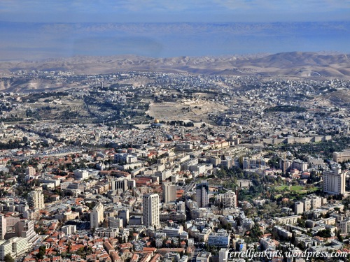 Aerial view of Jerusalem from the west. This photo shows the new (west) city of Jerusalem, the Old City, the Mount of Olives, the wilderness of Judea, the Dead Sea, and the mountains of Moab (Transjordan plateau). Photo by Ferrell Jenkins.