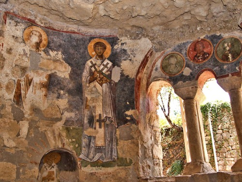 Fresco of Saint Nicholas in the church at Myra. Photo by Al Sandalow.