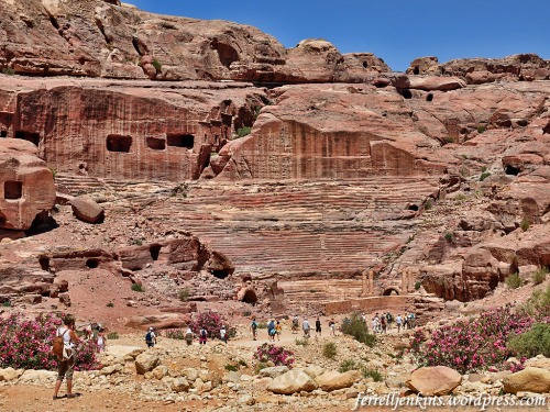 The theater at Petra, dating to the first century A.D., is carved from solid rock. Photo by Ferrell Jenkins.