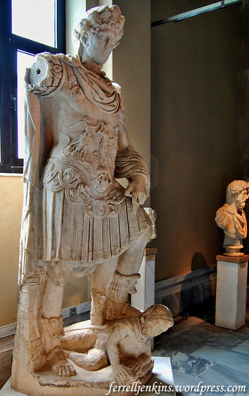 Hadrian has his foot on the neck of an enemy. Istanbul Archaeology Museum. Photo by Ferrell Jenkins.