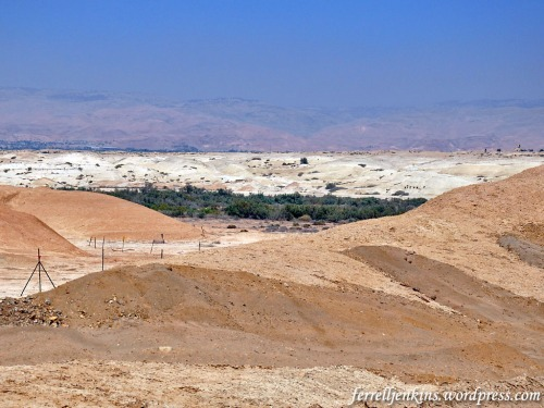 This photo shows the east side of the Jordan River in the foreground, the Ghor (depression) of the Jordan River, the Zor (thicket), the land of Perea on the east side of the Jordan and the mountains of Ammon. Photo by Ferrell Jenkins.