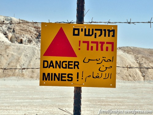 This is one of the signs warning of the landmines. We also see these in certain area of the Golan Heights. Photo by Ferrell Jenkins.