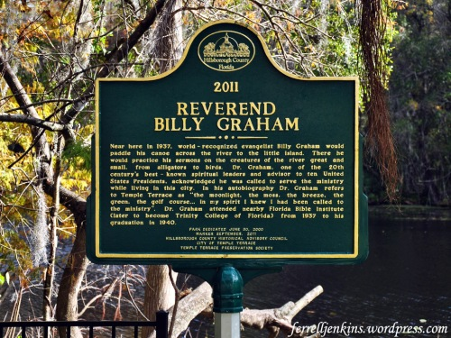 Billy Graham Historical marker in Temple Terrace, F. Photo by Ferrell Jenkins.