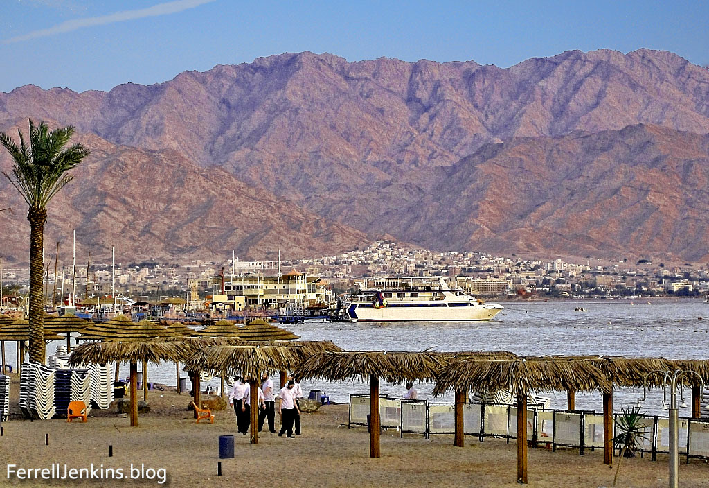 The north end of the Gulf of Eilat/Aqabah. The view is to the east and the city of Aqabah, Jordan. Tell el-Kheleifeh is only a short distance north of the shore in Jordan. Photo by Ferrell Jenkins.