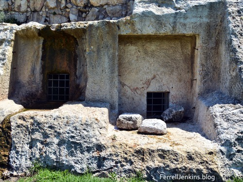 These rock-cut tombs belong to the Israelite (First Temple) period. Photo by Ferrell Jenkins.