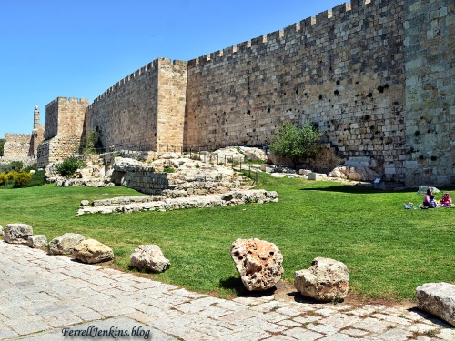 View of the garden and the west wall of the Old City. The view is from the south. Photo by Ferrell Jenkins.