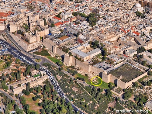 "Aerial view of the portion of the west wall under consideration. In it you will see the Citadel and the Armenian Garden. The place of the ""Hidden Gate"" is circled. Photo by Ferrell Jenkins."