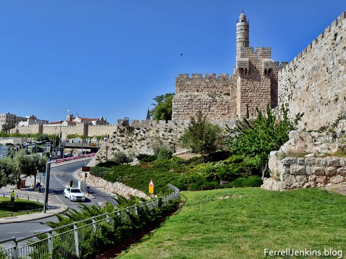 The garden of Walls Around Jerusalem begins on the west at the Jaffa Gate and extends south. Photo by Ferrell Jenkins.