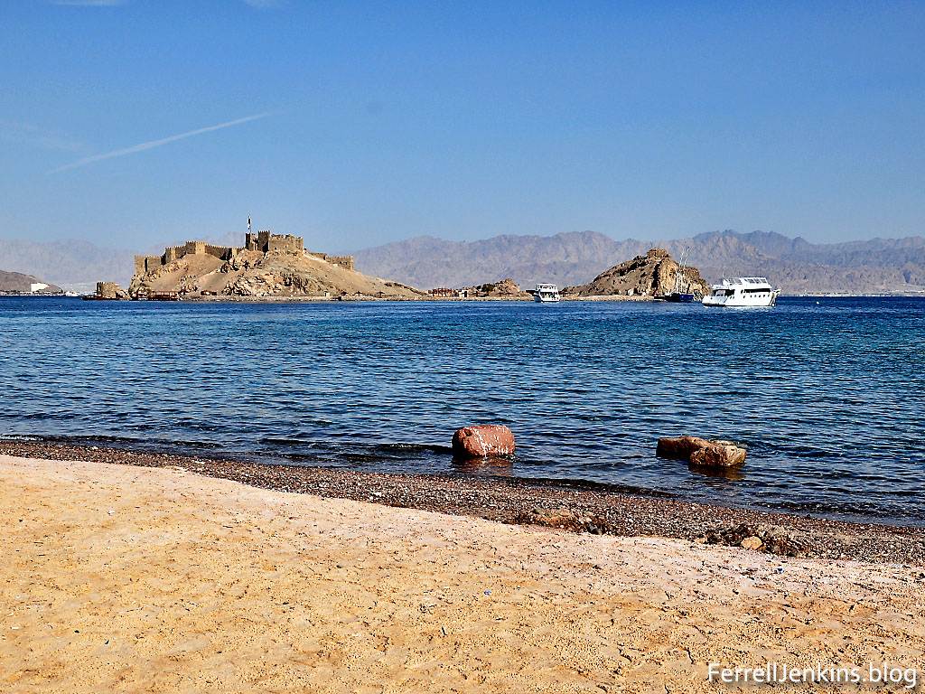 Pharaoh's Island in the Gulf of Eilat/Aqabah from the west. Photo by Ferrell Jenkins.