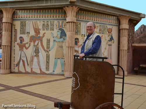 Leon Mauldin poses in an Egyptian chariot, but I see he doesn't have much horse power. Photo by Ferrell Jenkins.