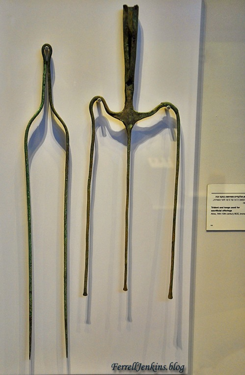 Trident and tongs from Acco displayed in the Israel Museum. Photo by Ferrell Jenkins.