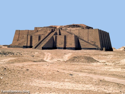 The ziggurat at Ur, Iraq. The remaining ruins can be seen above the reconstructed brick work. The reconstruction is about four stories high. Photo made by Ferrell Jenkins, May 13, 1970.