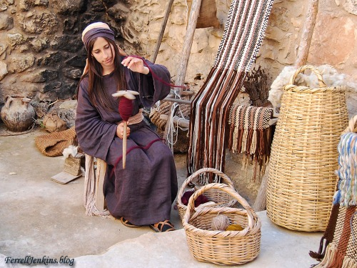 A young lady spinning wool at the Nazareth Village. Photo by Ferrell Jenkins.