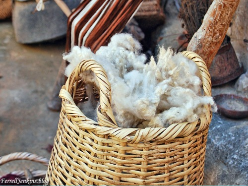 A basket of wool waiting to be spun into yarn. Photo by Ferrell Jenkins.