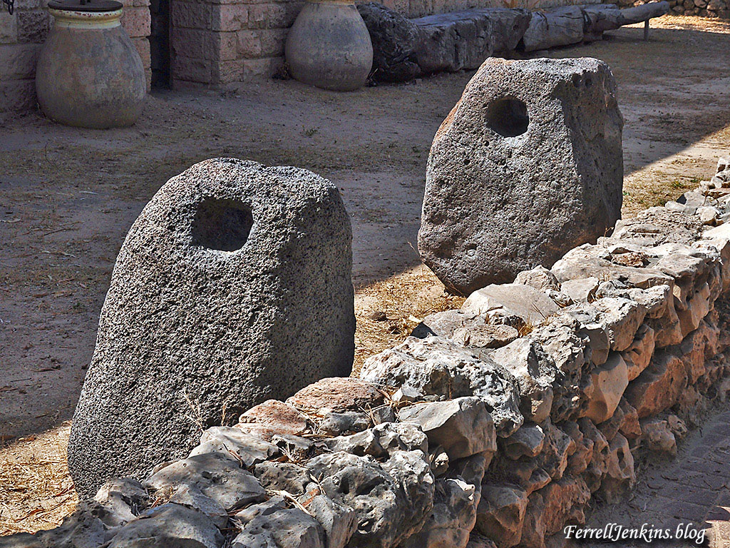 Stone anchors displayed at Tel Qasile at the Eretz Israel Museum, Tel Aviv. FerrellJenkins.blog.
