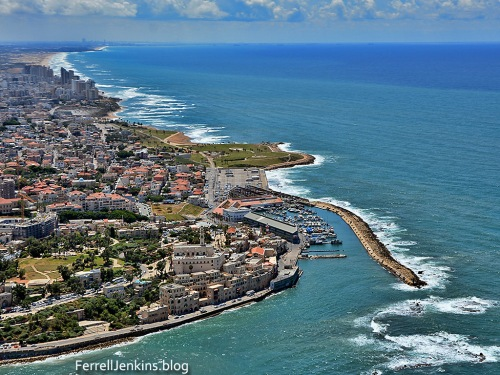 Aerial view of Joppa, showing the modern harbor. ferrelljenkins.blog.